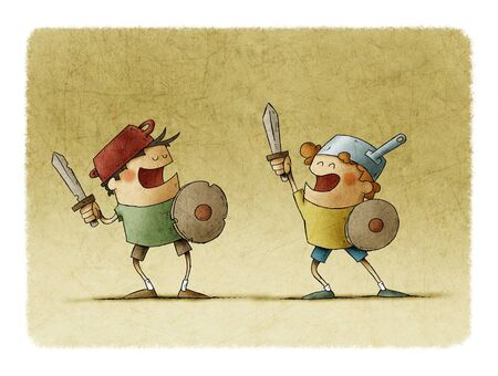 Two smiling children play warriors, they have casseroles on their heads like helmets.