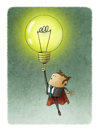 Businessman dressed in superhero with cape, flies raising a light bulb with his finger. creativity concept.