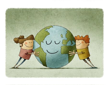 Two adorable children affectionately hug a planet earth that smiles.