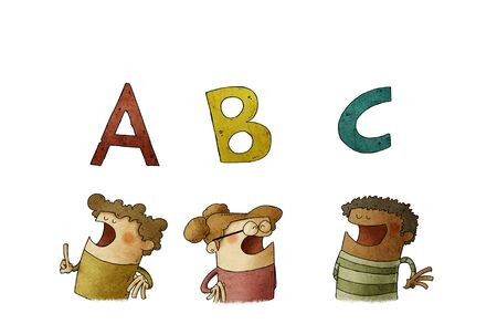 three diverse children under the first letters of the alphabet. literacy learning concept. isolated Stockfoto