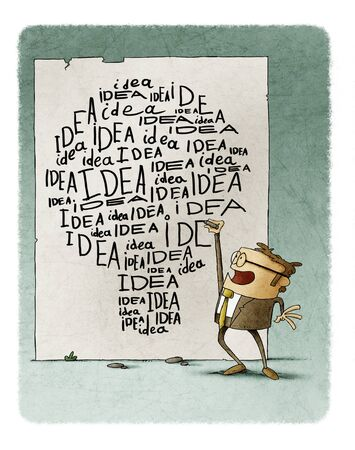 Businessman writes many times the word idea on the wall, the words make the shape of a light bulb.