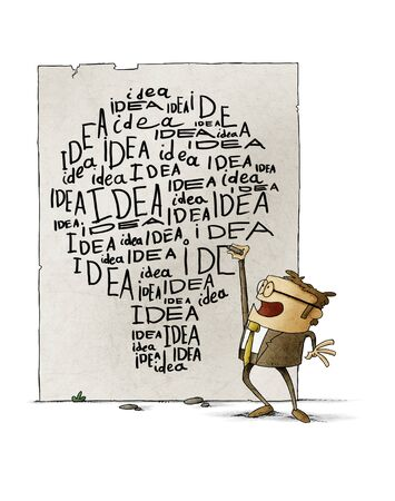 Businessman writes many times the word idea on the wall, the words make the shape of a light bulb. isolated
