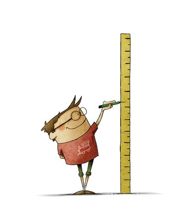 boy with glasses makes a mark on a ruler in which he has measured his height. isolated