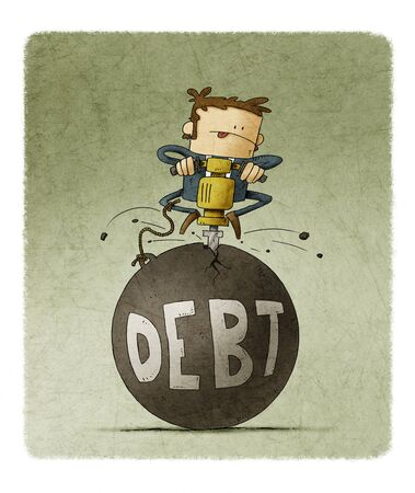 businessman is breaking with a machine a huge ball in which the word debt is written