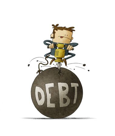 businessman is breaking with a machine a huge ball in which the word debt is written. isolated