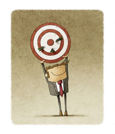 Business man holds up a target that has three darts stuck. Human resources concept.
