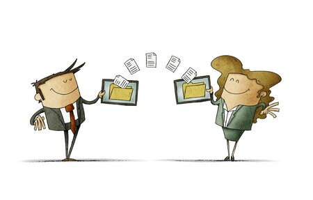 businessman and businesswoman are transferring files between their mobile devices. isolated