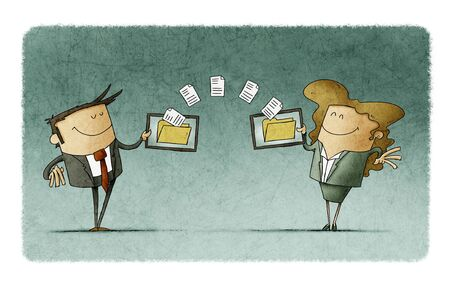 businessman and businesswoman are transferring files between their mobile devices 스톡 콘텐츠