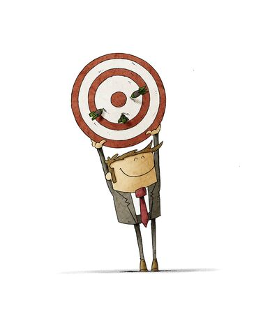 Business man holds up a target that has three darts stuck. Human resources concept. isolated 版權商用圖片