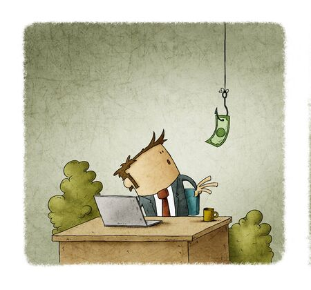 Businessman at his desk looks surprised at a dollar bill on a hook that hangs from the ceiling.