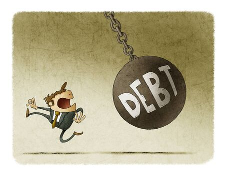 Businessman runs because a big ball with the word debt is going to hit him