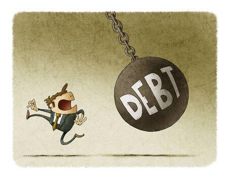 L'homme d'affaires court parce qu'une grosse balle avec le mot dette va le frapper