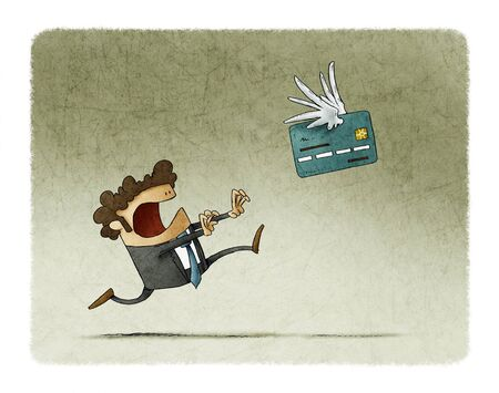 Man is running behind a winged credit card that flies away. Фото со стока