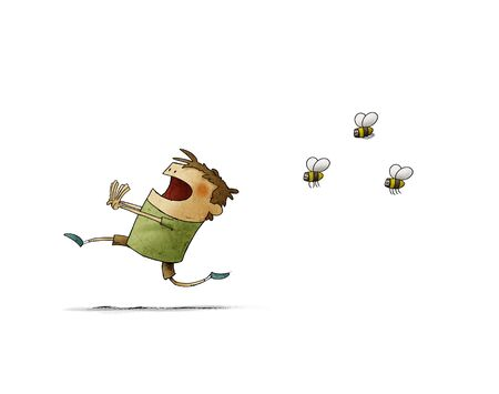 Child runs scared because three bees chase him. isolated
