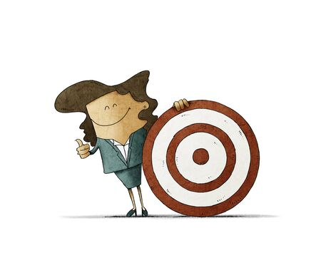 Smiling business woman, is next to a big target. talent search concept. isolated