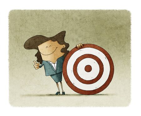 Smiling business woman, is next to a big target. talent search concept.