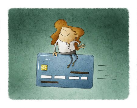 Woman is sitting on top of a flying credit card.