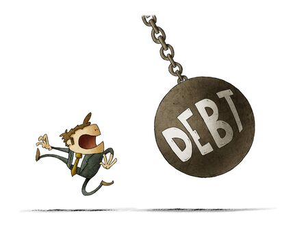 Businessman runs because a big ball with the word debt is going to hit him. isolated