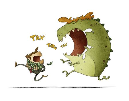 man with his hands full of bills runs because he is chased by a big monster that says tax. isolated