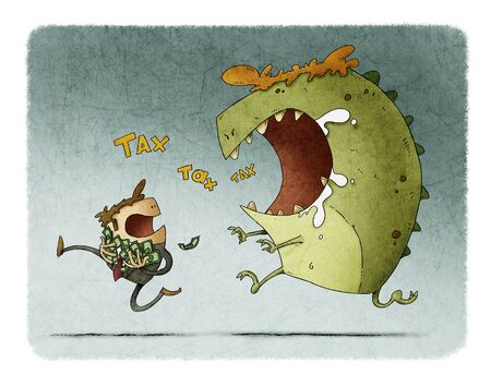 man with his hands full of bills runs because he is chased by a big monster that says tax