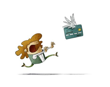 Woman is running behind a winged credit card that flies away. isolated