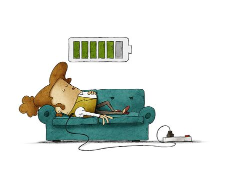 Illustration of a businesswoman on the sofa is connected to the power grid while recharging energy. Recharge concept. isolated Stockfoto