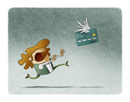 Woman is running behind a winged credit card that flies away.
