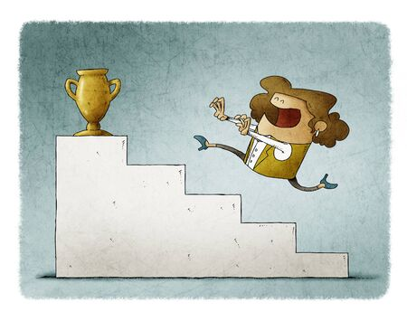 Businesswoman runs up some stairs to reach a golden trophy. Stockfoto