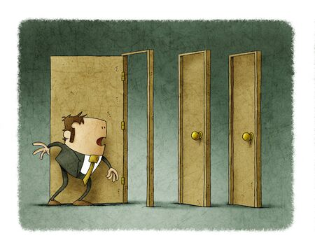 Businessman has been able to open a door but the next two are closed.