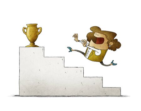 Businesswoman runs up some stairs to reach a golden trophy. isolated