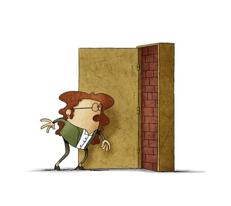 Business woman has opened a door and is covered with bricks. adversity concept. isolated Stockfoto - 135626379