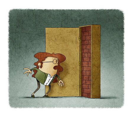 Business woman has opened a door and is covered with bricks. adversity concept Stockfoto - 135626377