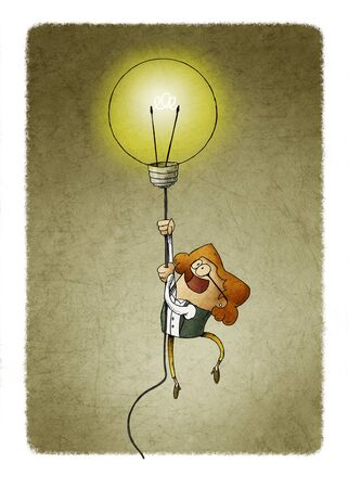 Businesswoman flying on a light bulb as a symbol of creativity. Stockfoto