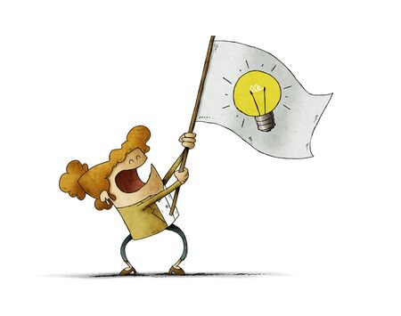 woman waves a flag with the symbol of a light bulb. Idea concept. isolated Stockfoto