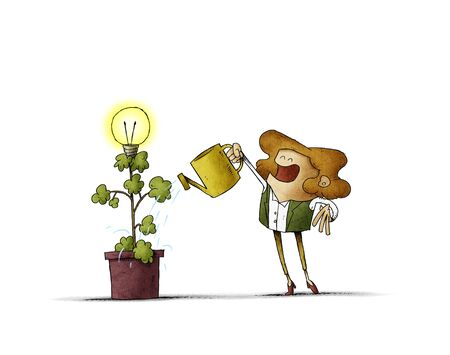 woman is watering a plant from which a light bulb blooms. isolated Stockfoto - 135626384