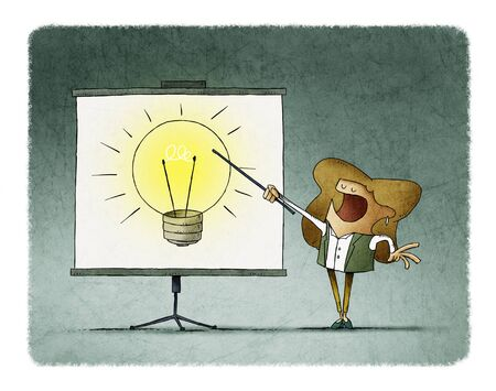 Businesswoman points on a display a large light bulb. creativity teaching concept. Stockfoto - 135626506
