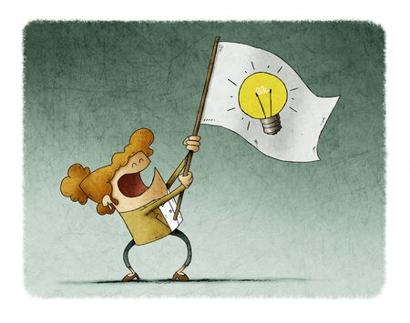 businesswoman waves a flag with the symbol of a light bulb.