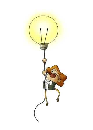 woman flying on a light bulb as a symbol of creativity. isolated