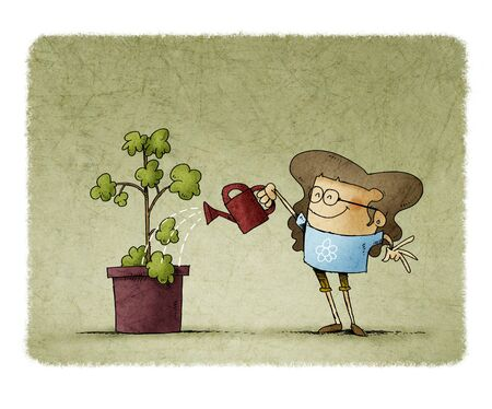 Girl with glasses is watering a plant with a watering can.