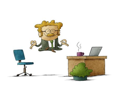 businessman with mustache is floating in her office while relaxing. isolated