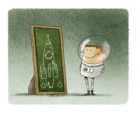 Boy dressed as an astronaut looks at the drawing of a rocket he has drawn with chalk on a blackboard. Stockfoto - 136727146