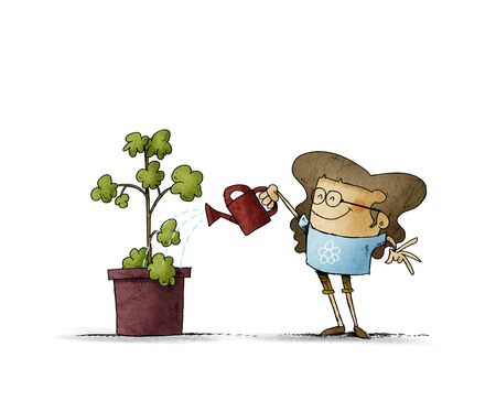 Girl with glasses is watering a plant with a watering can. isolated