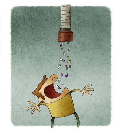 Man with his mouth wide open swallows pills that fall from a pipe. Stockfoto