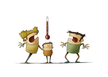 Very worried parents look at the thermometer of the sick child. Fever concept. isolated