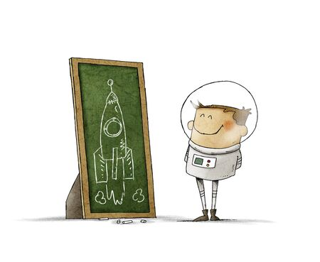 Boy dressed as an astronaut looks at the drawing of a rocket he has drawn with chalk on a blackboard. isolated Stockfoto - 136727159