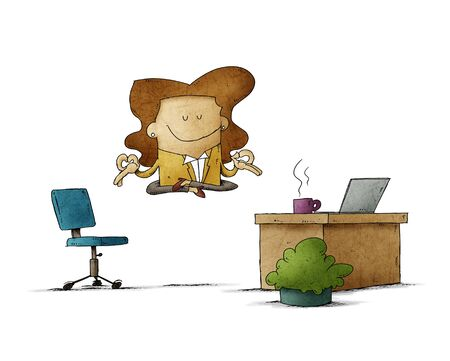 Employee woman is floating in her office while relaxing.