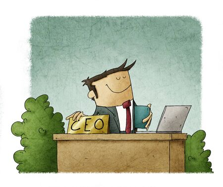 cartoon style illustration of a CEO at his office desk
