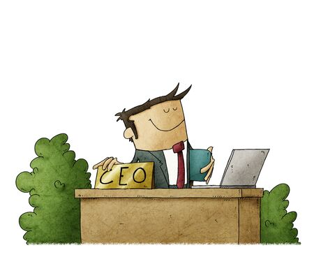 cartoon style illustration of a handsome CEO at his office desk. isolated