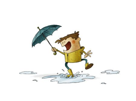 Boy with umbrella and raincoat jumps over a puddle of water. illustration about a rainy day. isolated Stockfoto - 138476374