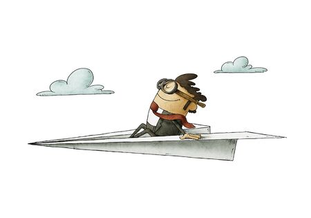 Businessman sitting on a paper plane flies at high speed. isolated Stockfoto - 138476428